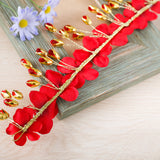 romantic golden floral ornament red hair band for women