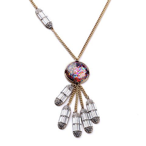 trendy multicolor feather like glass pendant necklace for women