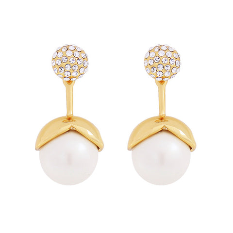 elegant shiny crystal & imitation pearl stud earrings for women
