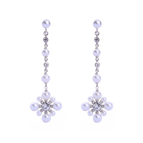 elegant imitation pearl crystal flower drop earrings for women