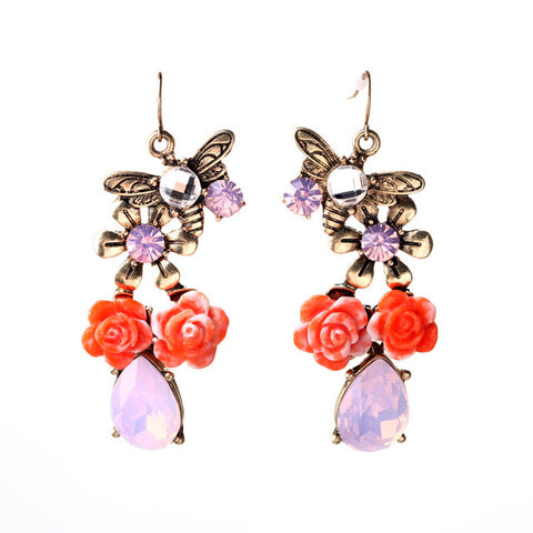 romantic rose flower with crystal drop earrings for women