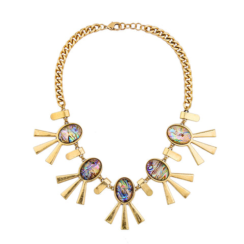 vintage geometric resin statement necklace for women