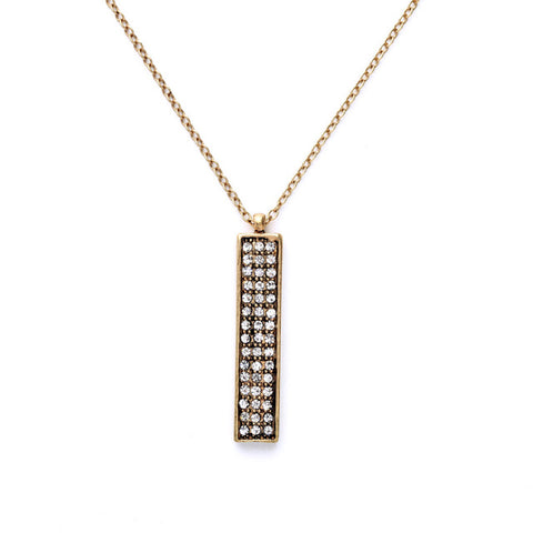 trendy inlay rectangle crystal pendant necklace for women