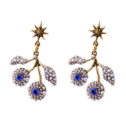 simulated pearls & crystal branch drop earrings for women