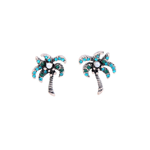 cute small crystal tropical tree stud earrings for women