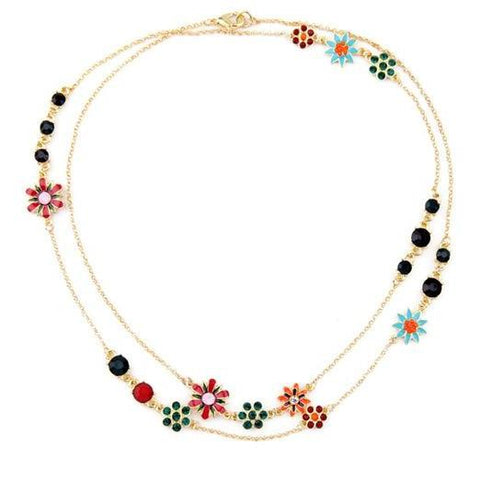 cute multicolor enamel flowers statement necklace for women