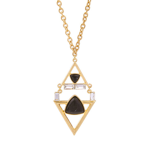 trendy hollow geometric pendant chain necklace for women