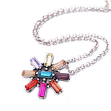 trendy colorful crystal flower pendant necklace for women
