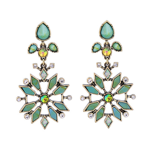 vintage hollow resin & crystal flower earrings for women