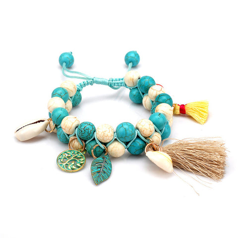 ethnic big beads tassel bracelet bangle for women
