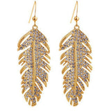 elegant crystal rhinestone feather shape long earrings for woman