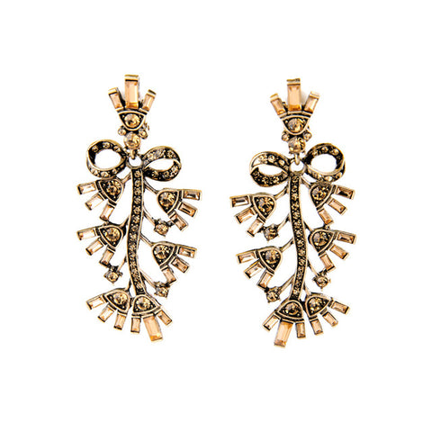 vintage champagne crystal gold color earrings for women