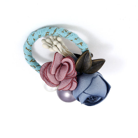 romantic handmade double fabric flowers brooch pin for women