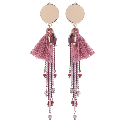 trendy pink cotton tassel drop earrings for women