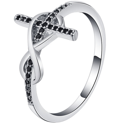 elegant silver color black zircon cross design ring for women