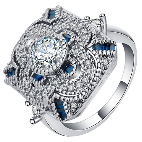 vintage style big silver color blue crystal ring for women