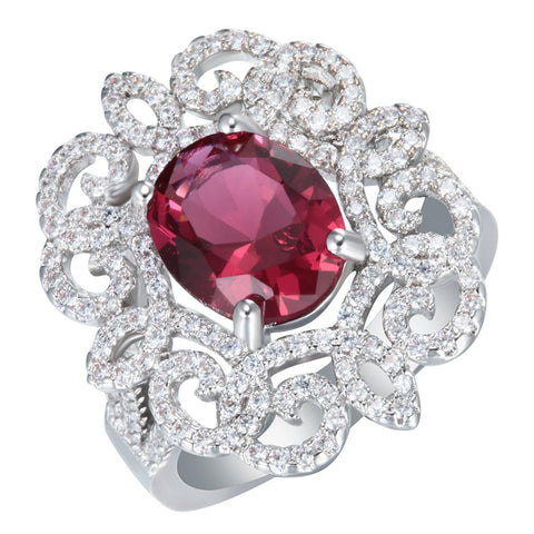 luxury silver plated cz zircon hollow flower design ring for women