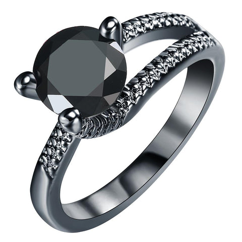 elegant black color stone gun black ring for women