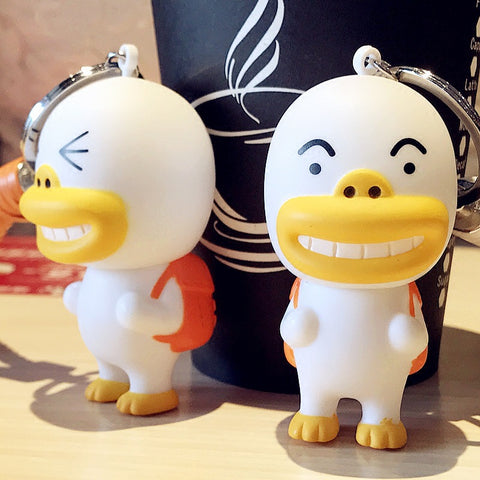cute soft rubber duck doll key chain for women