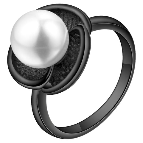 trendy black gun color imitation pearl flower ring for women