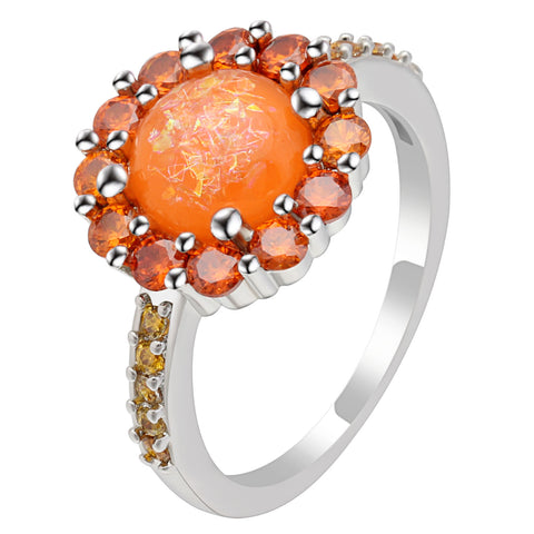 trendy orange color fire opal flower ring for women