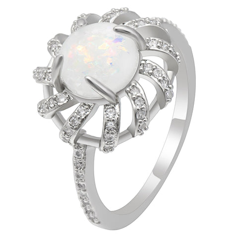 elegant white fire opal stone flower shape ring for women