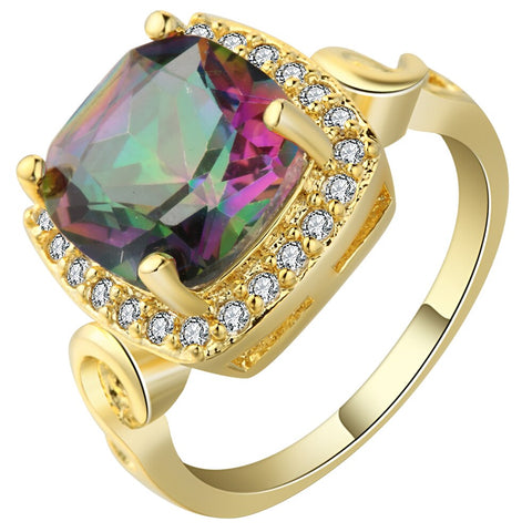 luxury rainbow color big crystal zircon gold color ring for women