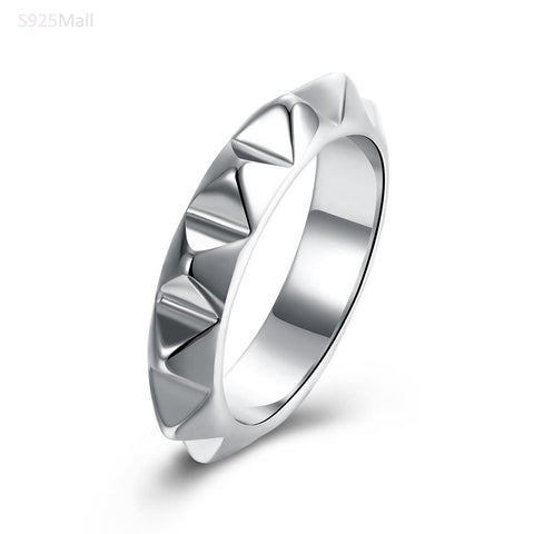 punk style rhodium plated metal ring