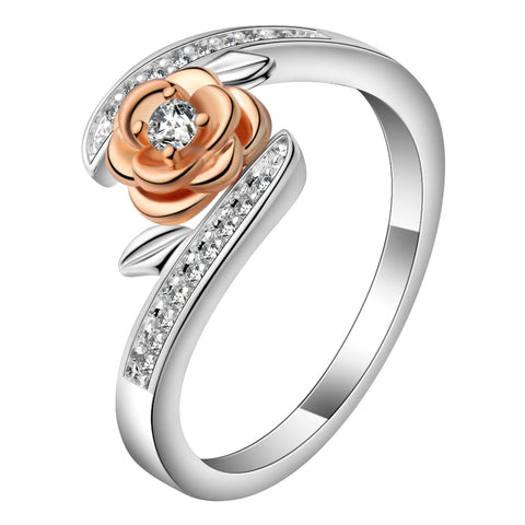 elegant rose gold flower silver color cz zircon ring for women