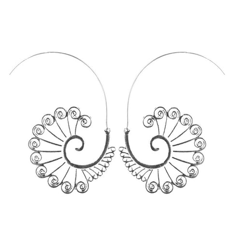 trendy silver color hollow out flower drop earrings for women