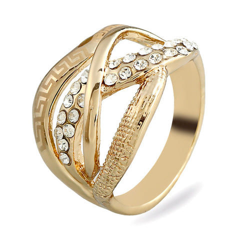 trendy hollow crystal mosaic gold color ring for women