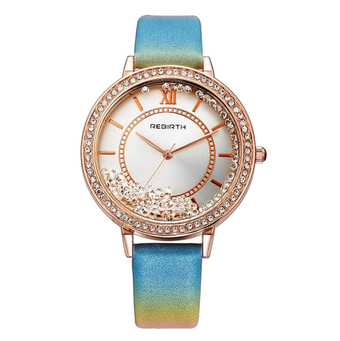 luxury crystal beads dial leather band wrist watch for women