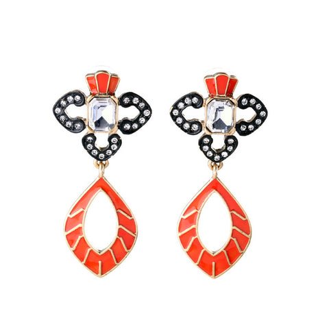 vintage hollow enamel inlay crystal earrings for women