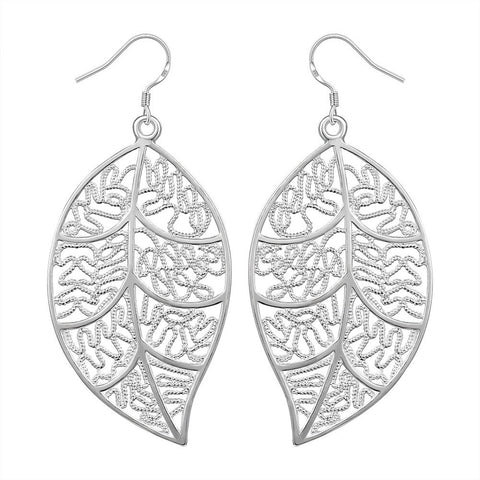 vintage hollow leaf shape drop earrings for women