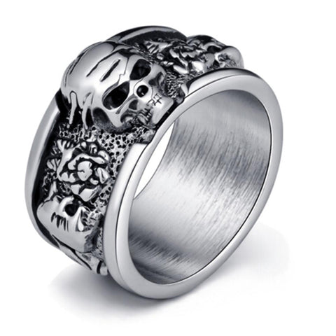 gothic style metal skull shape ring for men