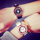 trendy hollow shape leather wrist band watch for women