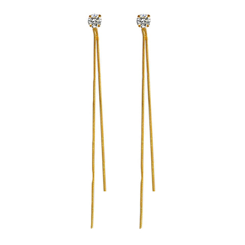 elegant long golden chain tassel crystal earrings for women