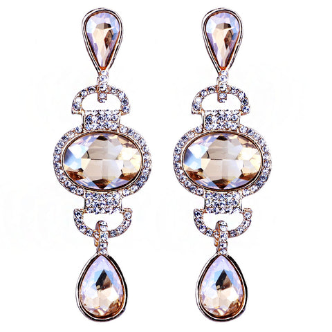 exquisite long crystal drop earrings for women