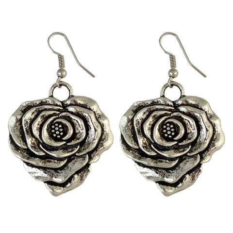 vintage silver plated big rose flower shape drop earrings for women