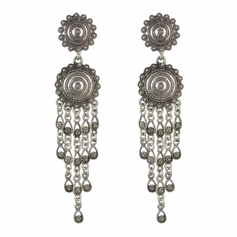 vintage carved flower long tassel drop earrings for women