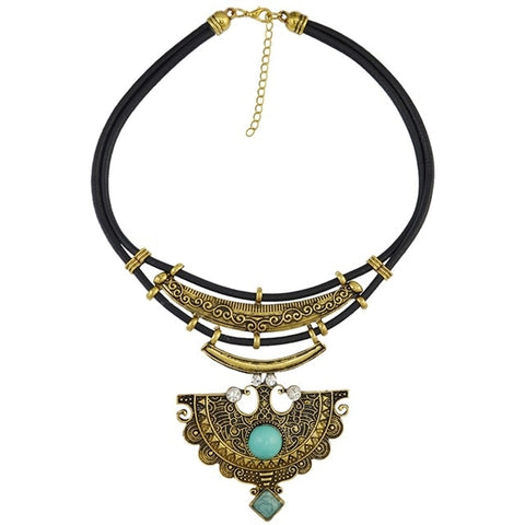 vintage stone fan shape tassel statement necklace for women