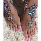 colorful crystal rhinestone flower beads anklet for women