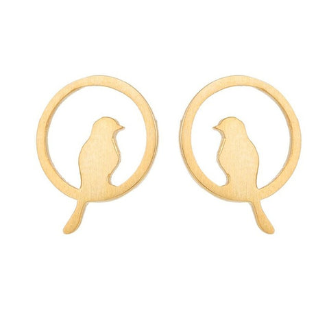 minimalist cute tiny bird in a round stud earrings for women