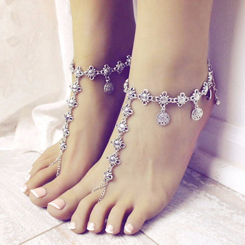 vintage carved hollow coin tassel chain anklet for women