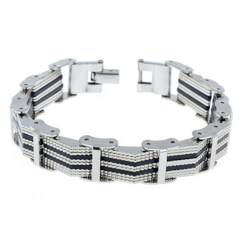 classic style silicone & stainless steel bracelet for men