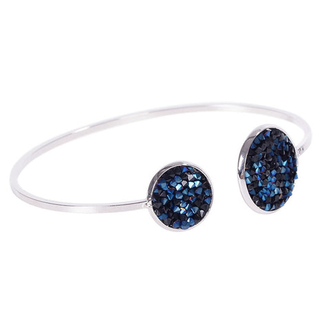 simple round metal & crystal open arm bangle bracelet for women