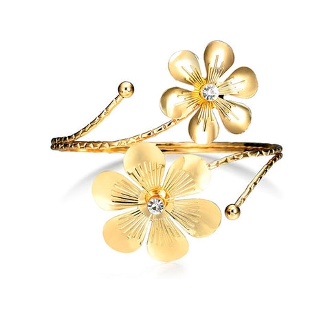 trendy hollow flower pattern arm cuff bracelet for women