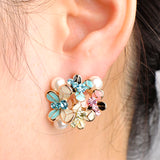 romantic enamel & simulated pearl flower shape jewelry set for women