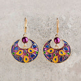 trendy round colorful enamel painting earrings for women