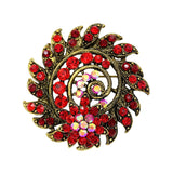 vintage style colorful crystal round brooch pin for women